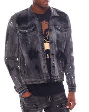 Denim Jackets - Distressed Dirty Wash Denim Jacket-2593956