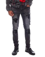 Industrial Indigo - Washed Black Yoke Crystal Denim Jean-2594036
