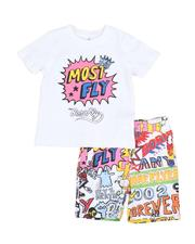 Born Fly - 2 Pc More Flyer Tee & All Over Print Shorts Set (2T-4T)-2589154