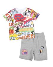 Born Fly - 2 Pc All Over Print Tee & Patch Shorts Set (2T-4T)-2589158