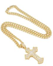 King Ice - 2PAC X King Ice - Fleur De Lis Cross Necklace-2595691