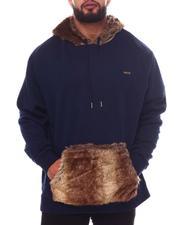 Big & Tall - Jacquard Pullover with Fur Detail Hoodie (B&T)-2599004