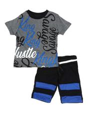 Sets - 2 Pc All Over Print Tee & Fleece Shorts Set (2T-4T)-2589162