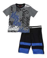 Sets - 2 Pc All Over Print Tee & Fleece Shorts Set (8-18)-2589171