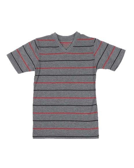 Arcade Styles - Two Tone Stripe V-Neck T-Shirt (4-7)