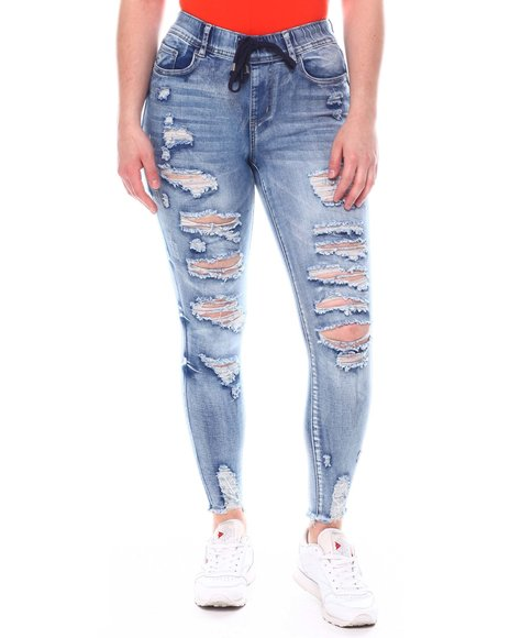 Fashion Lab - Drawstring Distressed Jeans