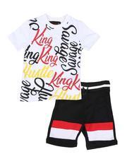 Sets - 2 Pc All Over Print Tee & Fleece Shorts Set (4-7)-2589180