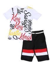 Sets - 2 Pc All Over Print Tee & Fleece Shorts Set (8-18)-2589185
