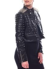 Outerwear - Spiked Faux Leather Jacket-2597765