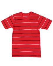 Tops - Two Tone Stripe V-Neck T-Shirt (4-7)-2593321