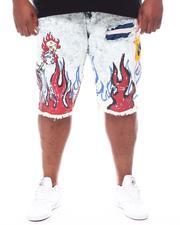 SMOKE RISE - On Fire Denim Shorts (B&T)-2598206