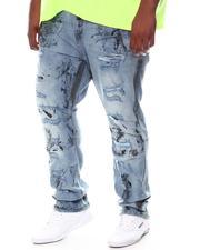 Big & Tall - Worn To Shreds Paint Splatter Bleached Jeans (B&T)-2598236