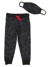 Arcade Styles - All Over Hustle Print Joggers W/ Matching Mask (8-18)-2591805