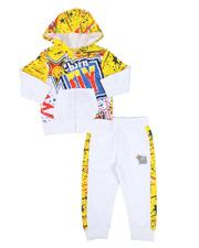 Born Fly - 2 Pc Splatter Print Two Tone Zip Up Hoodie & Taped Side Jogger Pants Set (2T-4T)-2589194