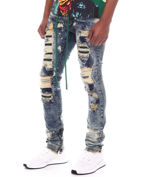 Frost Originals - SHREDDED JEANS W/ STONES & CORD