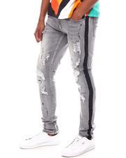 Skinny - Rip and Repair Paint Splatter Jean w Rhinestone Side Tape-2602043