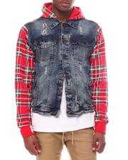 Denim Jackets - plaid mash up denim jacket-2598733