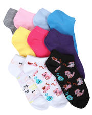 Fashion Lab - 10PK Cats & Dogs Ankle Socks-2604639