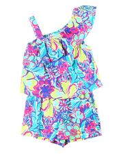 Rompers - Watercolor Floral Romper (2T-4T)-2599288