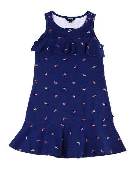 Nautica - All Over Citrus Print Dress W/ Keyhole Cut Out & Flounces (7-14)