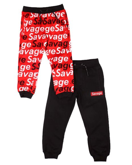 Arcade Styles - 2 Pk Savage Solid & All Over Verbiage Joggers (4-7)