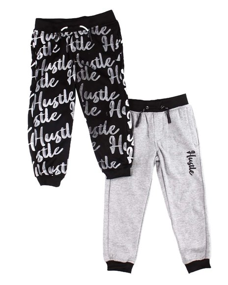 Arcade Styles - 2 Pk All Over Verbiage & Hustle Marled Joggers (2T-4T)