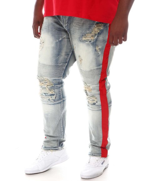 Makobi - Moto Knee Side Stripe Biker Jeans (B&T)