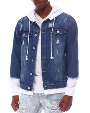 Denim Jackets - Denim Jacket with Hoodie-2607078