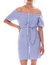 Dresses - Off Shoulder Shirt Dress-2594349