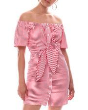 Dresses - Off Shoulder Shirt Dress-2594354
