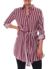 Dresses - Tie Front  Smock Back Shirt Dress-2609553