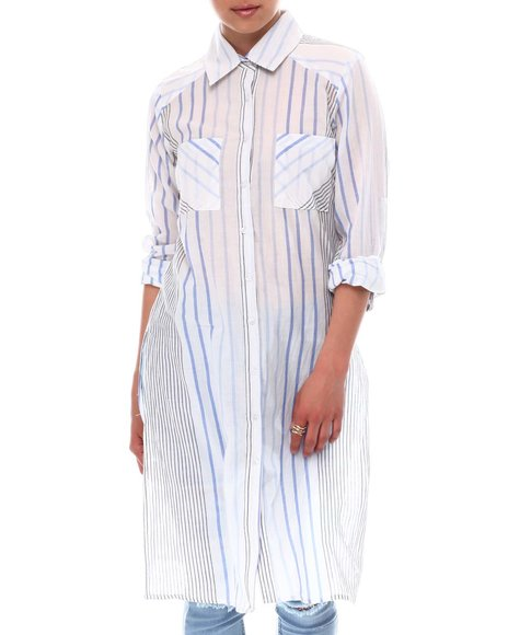 Fashion Lab - Roll Cuff 2 Pocket Slit Side Button Down Maxi Tunic With Yoke Detail