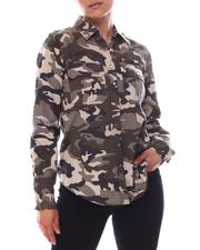 Fashion Lab - Long Sleeve Military Denim Shirt With Hardware Detail-2609588