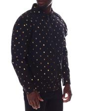 Buyers Picks - Gold Foil Bee and Diamond Zip uo LS Woven Shirt-2608858