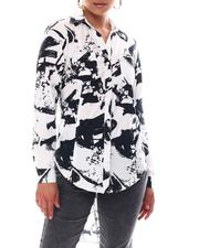 Fashion Lab - Long Sleeve Y-Neck 2 Pocket Printed Poplin Tunic Shirt Tail Exaggerated High-Low Hem Tunic-2609573