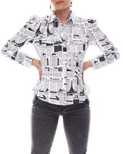 Fashion Lab - 2 Pocket Shirt With Drama Shoulder Newspaper Print-2609613