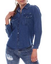 Fashion Lab - Long Sleeve Military Denim Shirt With Hardware Detail-2609598