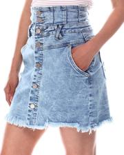 Skirts - Button Front High Waist Denim Skirt-2604248