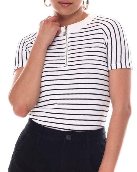 Bebe - Rib W /Stripe Zip Front