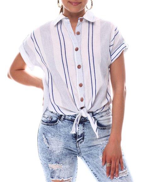 Fashion Lab - S/S Tie Front Blouse