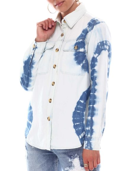 Fashion Lab - Tie Dye Denim Wash Shirt 2 Pocket  Wood Buttons