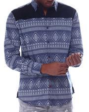 Button-downs - LS Woven Navajo Shirt w Buck Suede Yoke-2610267