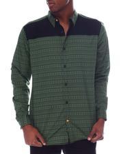Button-downs - LS Woven Navajo Shirt w Buck Suede Yoke-2610272
