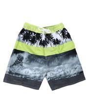 Swimwear - Tropical Print Color Block Tie Waist Swim Trunks (4-7)-2613590