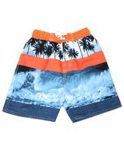 Swimwear - Tropical Print Color Block Tie Waist Swim Trunks (4-7)-2613581
