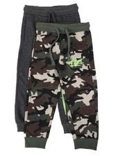 Arcade Styles - 2 Pack Camo Print & Solid Jogger Pants (8-18)-2614000