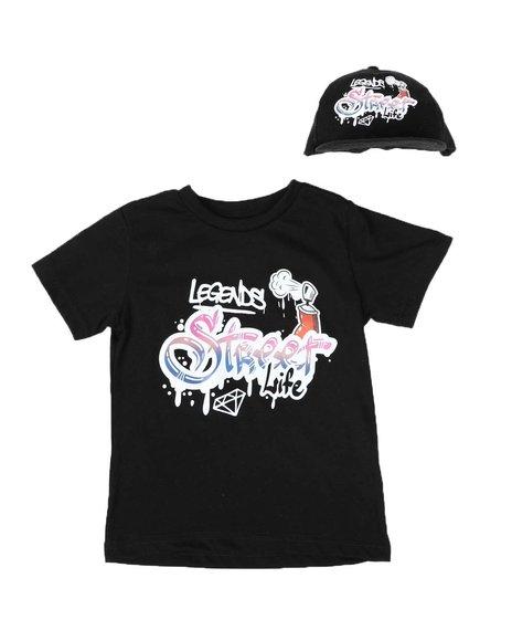 Parish - 2 Pc Graffiti Graphic T-Shirt & Baseball Cap Set (2T-4T)