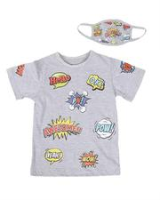 Boys - 2 Pc All Over Comic Print T-Shirt & Face Mask Set (4-7)-2614045