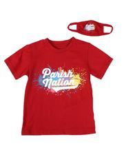 Boys - 2 Pc Paint Splatter Graphic T-Shirt & Face Mask Set (4-7)-2614056