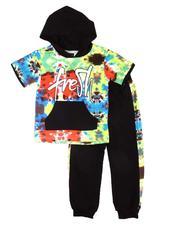 Boys - 2 Pc Hooded Tee & Jogger Pants Set (4-7) -2604586
